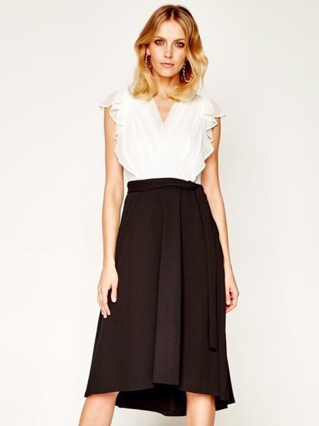 Sukienka DKNY bez rękawów z dekoltem w kształcie litery v midi