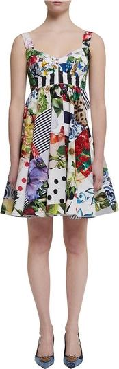 Sukienka Dolce & Gabbana mini na ramiączkach z okrągłym dekoltem