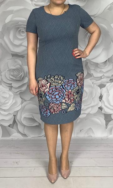 Sukienka Dorota dla puszystych midi z okrągłym dekoltem