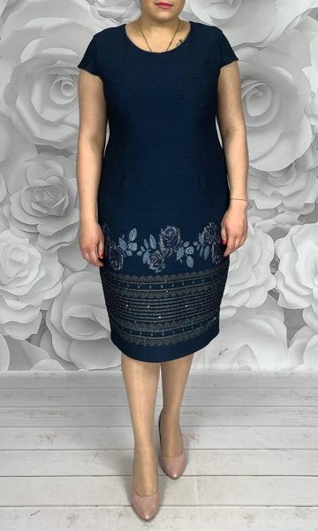 Sukienka Dorota z krótkim rękawem z okrągłym dekoltem midi