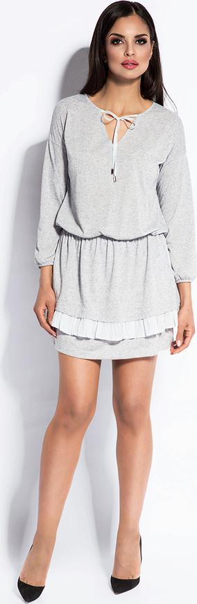 Sukienka Dursi mini ze sznurowanym dekoltem rozkloszowana