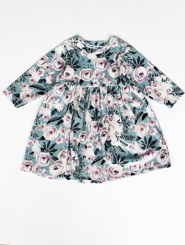 Sukienka dziewczęca ilovemilk.pl w kwiatki z tkaniny