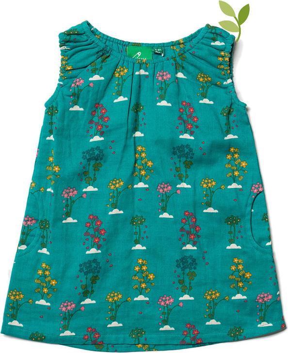 Sukienka dziewczęca Little Green Radicals w kwiatki z bawełny