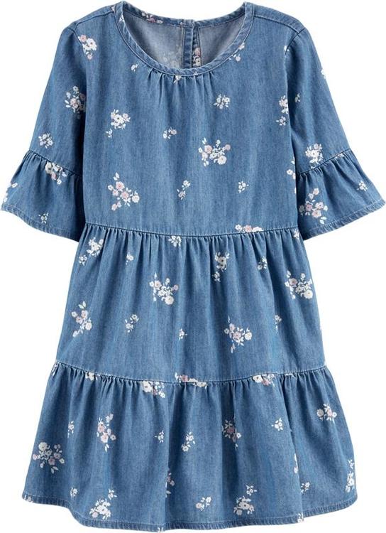 Sukienka dziewczęca OshKosh z jeansu w kwiatki