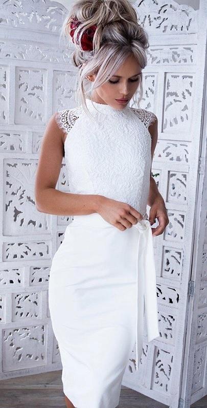 Sukienka elegrina w stylu klasycznym bandażowa bez rękawów