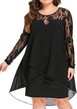 Sukienka Elegrina z okrągłym dekoltem z długim rękawem mini