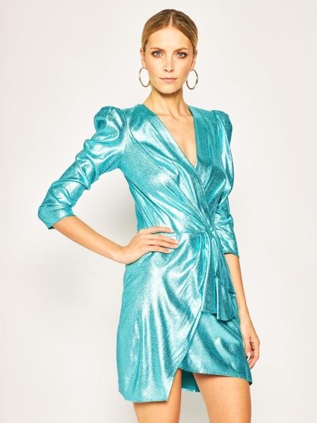 Sukienka Elisabetta Franchi mini z długim rękawem z dekoltem w kształcie litery v