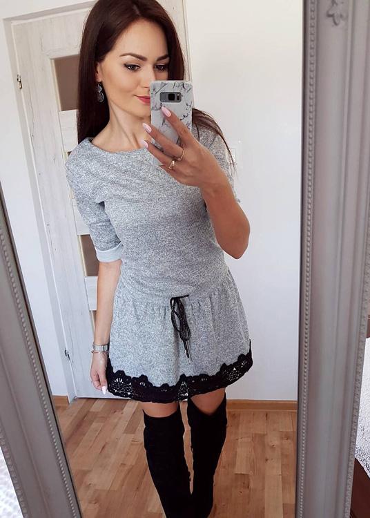 Sukienka FidoStyle w stylu casual mini z dzianiny