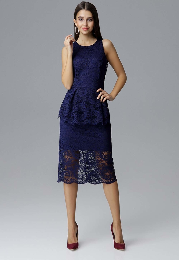 Sukienka Figl bez rękawów z okrągłym dekoltem midi