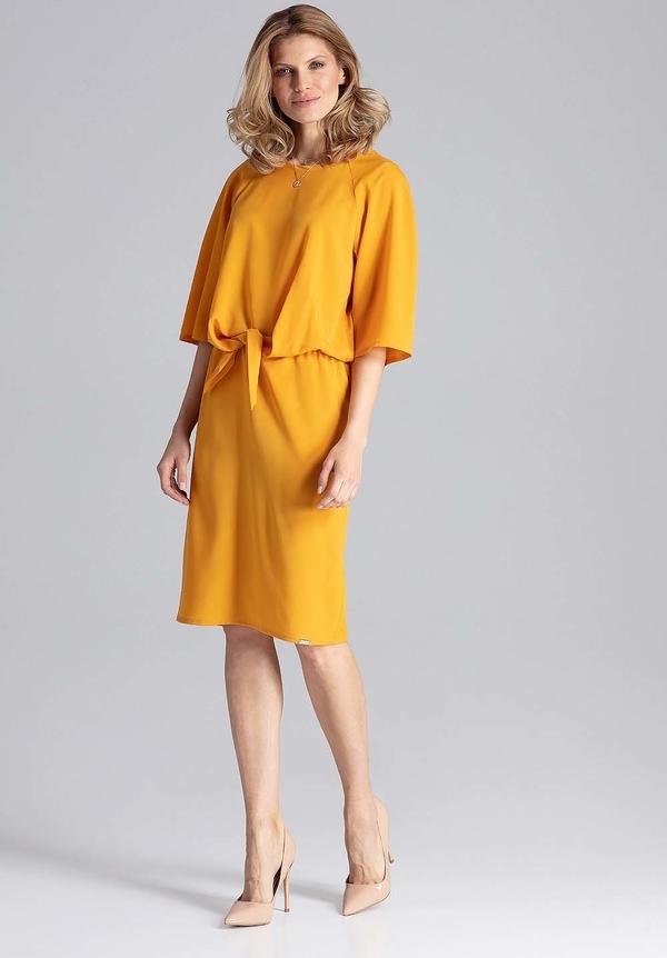 Sukienka Figl midi z okrągłym dekoltem
