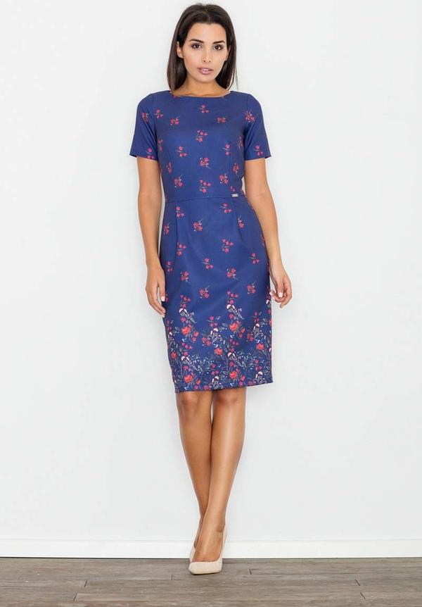 Sukienka Figl ołówkowa z okrągłym dekoltem midi