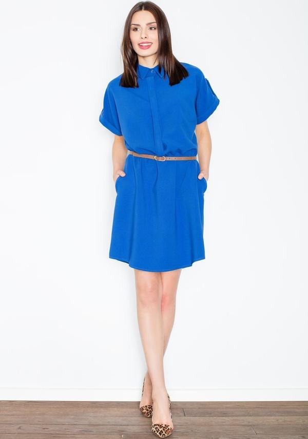 Sukienka Figl szmizjerka z kołnierzykiem mini