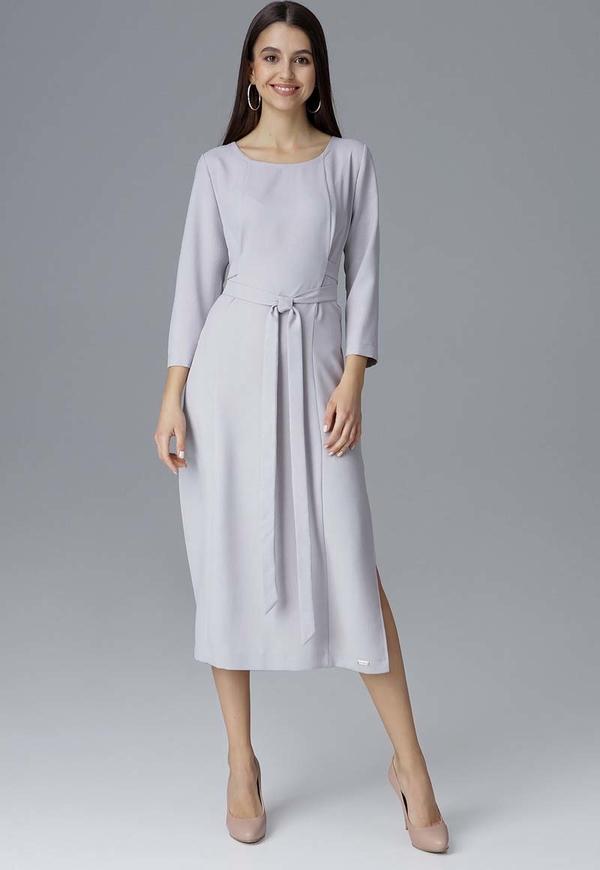 Sukienka Figl z okrągłym dekoltem z długim rękawem