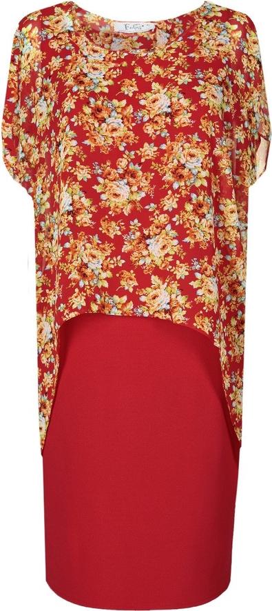 Sukienka Fokus asymetryczna z krótkim rękawem z tkaniny
