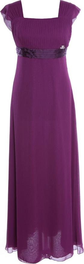 Sukienka Fokus maxi z przeźroczystą kieszenią z dekoltem w karo