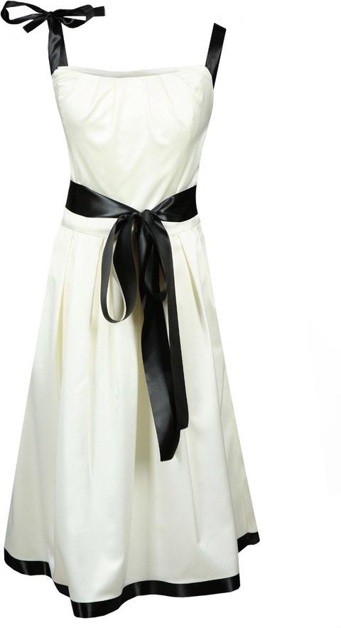 Sukienka Fokus midi rozkloszowana z okrągłym dekoltem