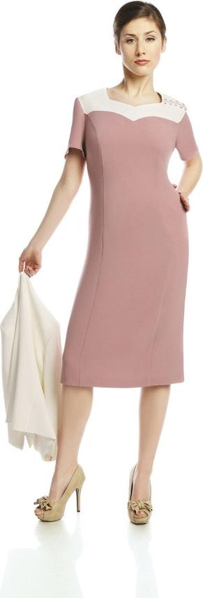 Sukienka Fokus midi z krótkim rękawem z dekoltem w kształcie litery v