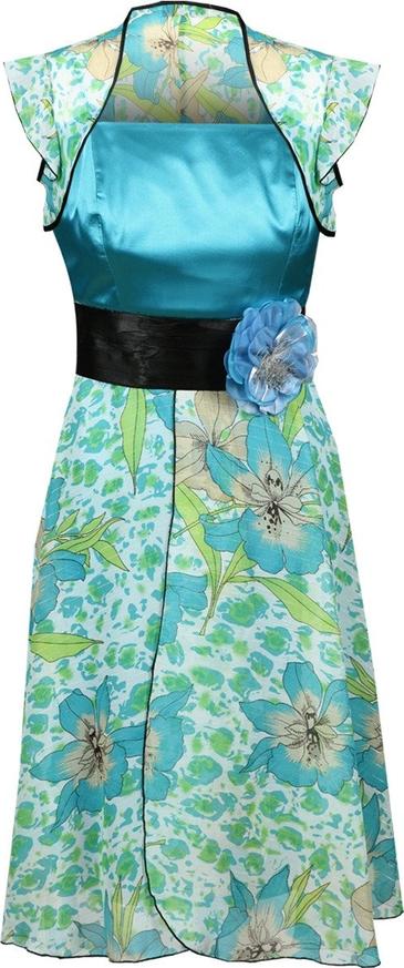 Sukienka Fokus midi z szyfonu z krótkim rękawem