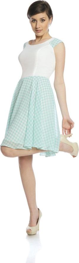 Sukienka Fokus mini z okrągłym dekoltem z szyfonu