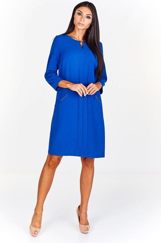 Sukienka Fokus ołówkowa z długim rękawem z bawełny