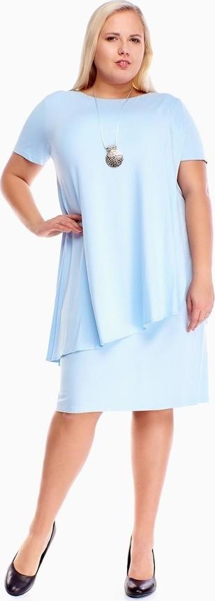 Sukienka Fokus oversize z okrągłym dekoltem z krótkim rękawem