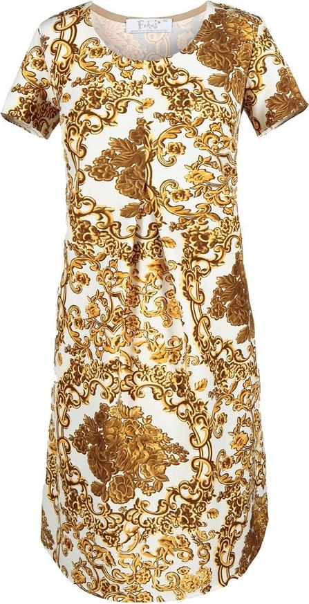 Sukienka Fokus w stylu etno z okrągłym dekoltem midi