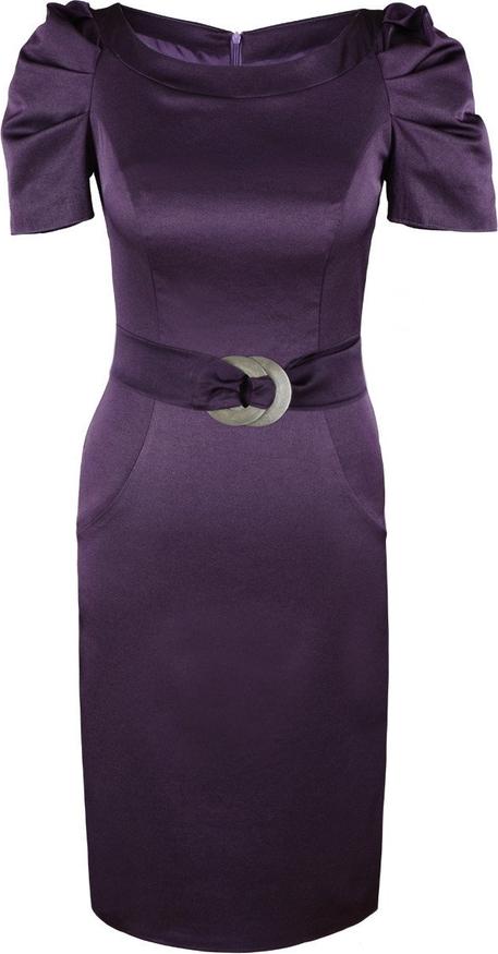 Sukienka Fokus w stylu glamour z krótkim rękawem z tkaniny