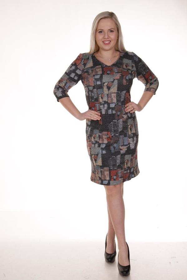 Sukienka Fokus z dekoltem w kształcie litery v z długim rękawem