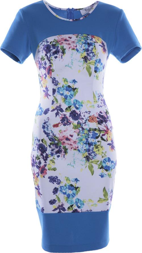 Sukienka Fokus z krótkim rękawem z okrągłym dekoltem z tkaniny