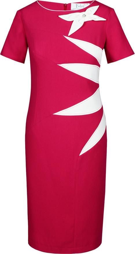 Sukienka Fokus z okrągłym dekoltem z krótkim rękawem z tkaniny