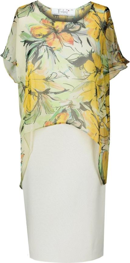 Sukienka Fokus z okrągłym dekoltem z tkaniny