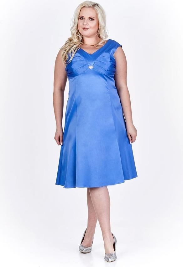 Sukienka Fokus z satyny bez rękawów midi