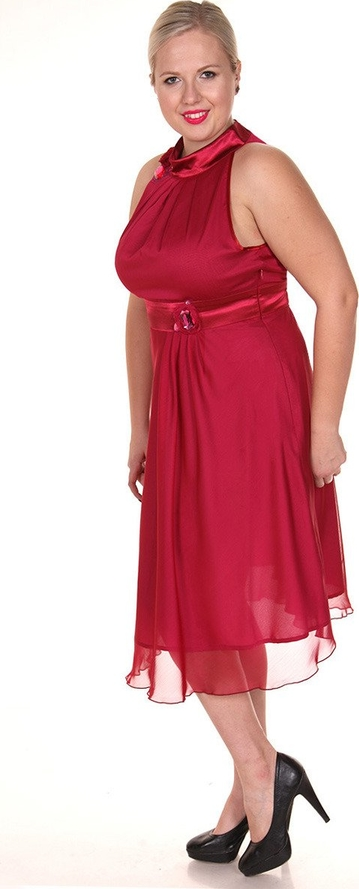Sukienka Fokus z satyny rozkloszowana midi