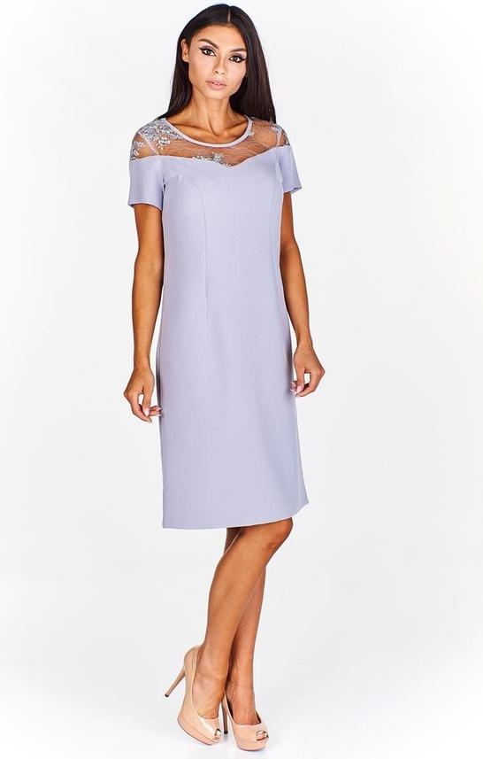 Sukienka Fokus z tkaniny midi z okrągłym dekoltem