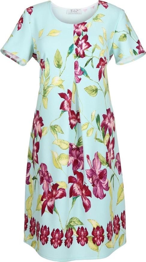 Sukienka Fokus z tkaniny z krótkim rękawem z okrągłym dekoltem
