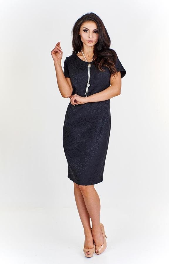 Sukienka Fokus z żakardu z krótkim rękawem z okrągłym dekoltem
