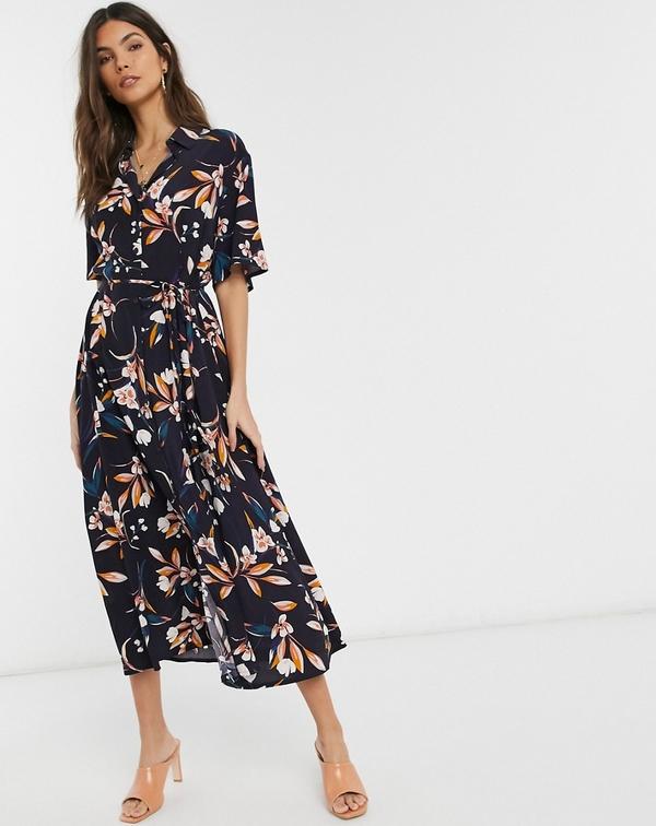 Sukienka French Connection z długim rękawem maxi szmizjerka
