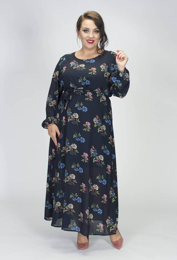 Sukienka Grandio z okrągłym dekoltem maxi