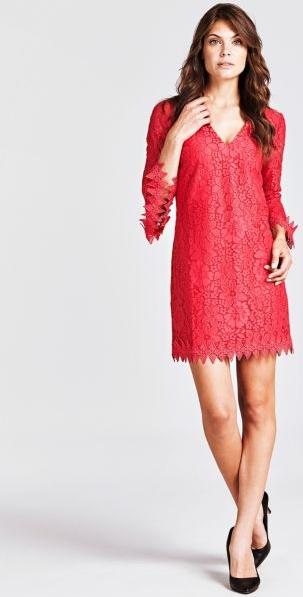 Sukienka Guess mini z bawełny z dekoltem w kształcie litery v