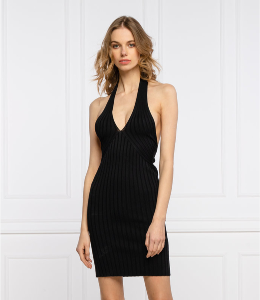Sukienka Guess na ramiączkach dopasowana z dekoltem w kształcie litery v