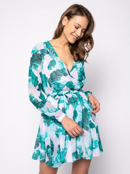 Sukienka Guess z długim rękawem mini z dekoltem w kształcie litery v
