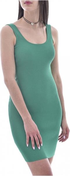 Sukienka Guess z okrągłym dekoltem na ramiączkach dopasowana