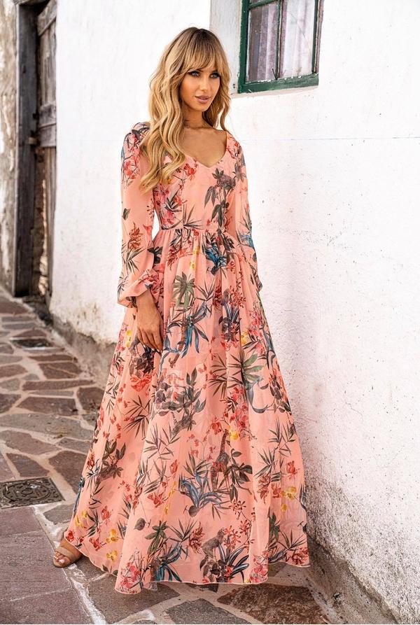 Sukienka Hollywood Dream z długim rękawem z dekoltem w kształcie litery v w stylu boho
