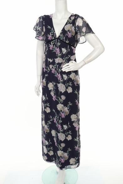 Sukienka Hope & Ivy z krótkim rękawem maxi z dekoltem w kształcie litery v