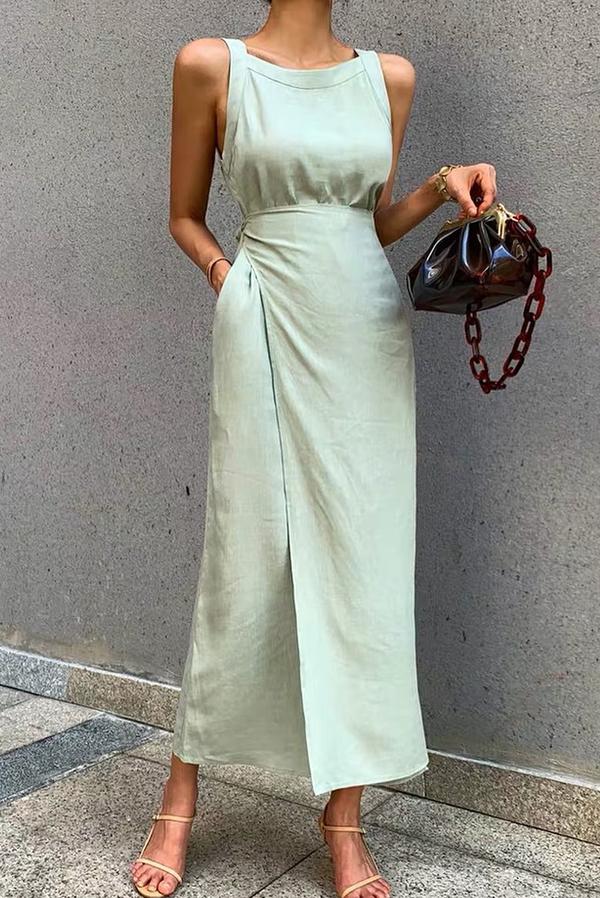 Sukienka IVET bez rękawów w stylu casual z okrągłym dekoltem