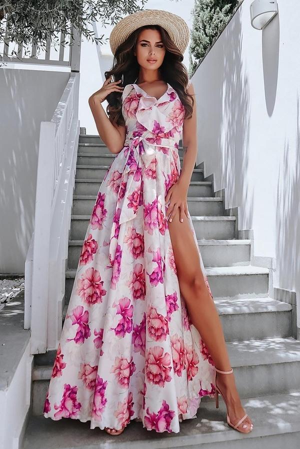 Sukienka Ivet.pl w stylu casual z dekoltem w kształcie litery v maxi