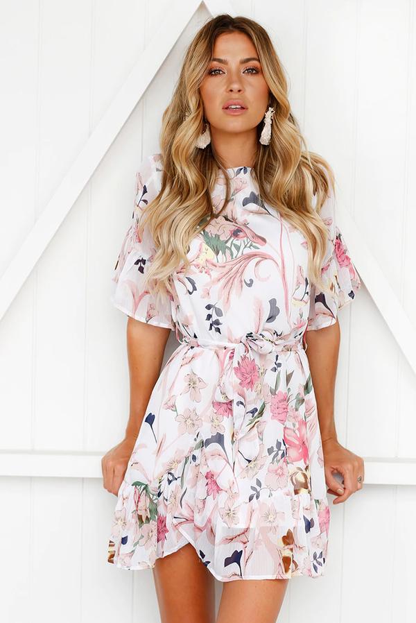 Sukienka Ivet.pl w stylu casual z krótkim rękawem z okrągłym dekoltem