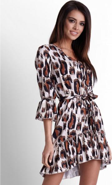 Sukienka Ivon mini z długim rękawem z tkaniny