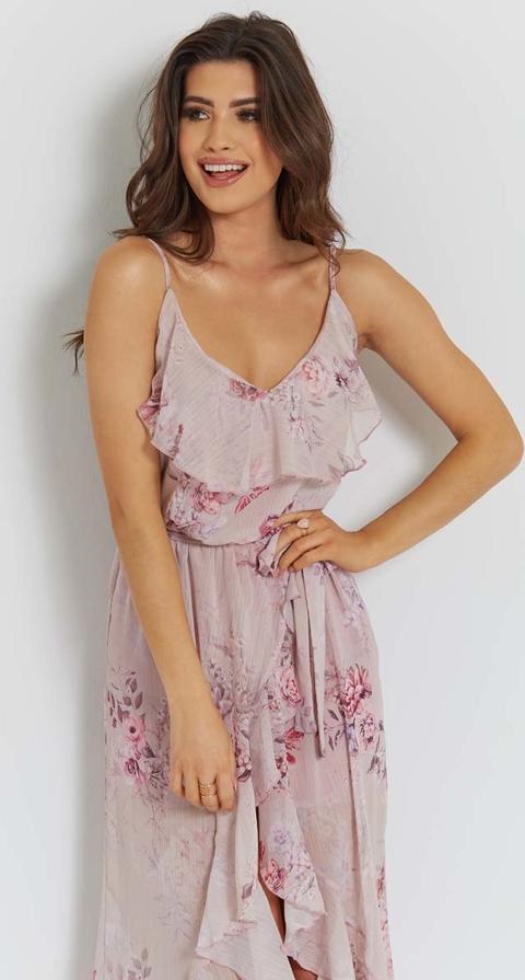 Sukienka Ivon na ramiączkach z dekoltem w kształcie litery v midi