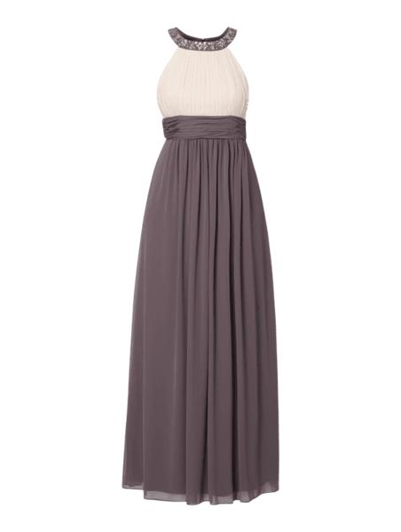 Sukienka Jake*s Cocktail rozkloszowana bez rękawów z szyfonu